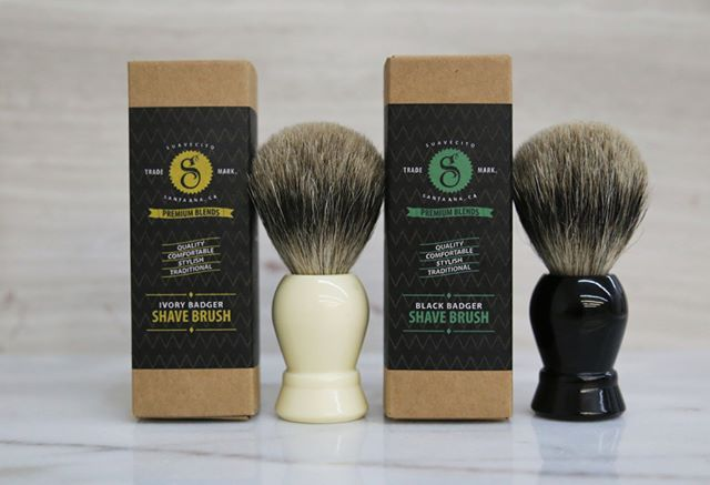 These Premium, Resin, Badger hair, Shave Brushes work great at whipping up an incredibly rich lather. They're so soft but firm enough to work your shaving cream into your beard effectively. Shop the @SuavecitoPremium Shave Brushes on Suavecito.com. #SuavecitoPomade #Suavecito #Pomade #Shave #Shaving #Brush #Badger #Premium #SPB #Premiumblends #Mensgrooming #Grooming #Getithombre!