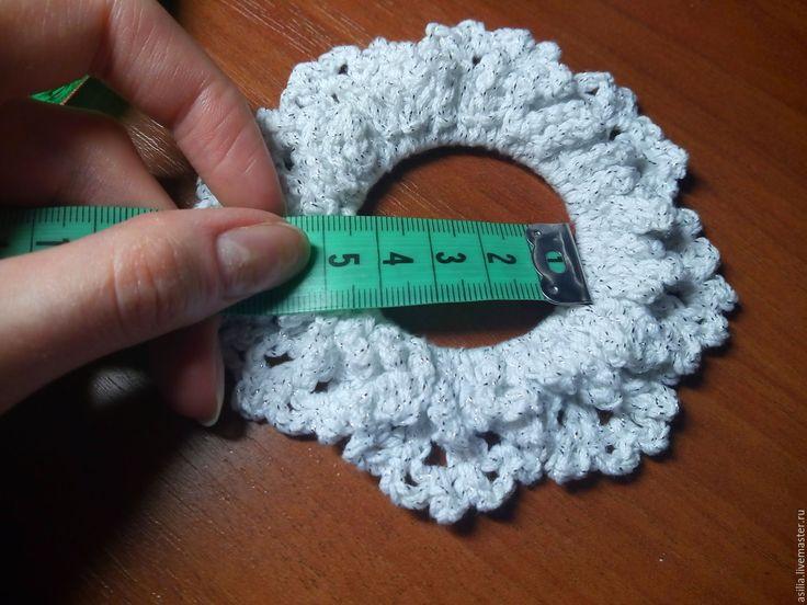 Купить Вязаная резинка для волос - белый, резинка, резинка для волос, резинка ручной работы, резинки