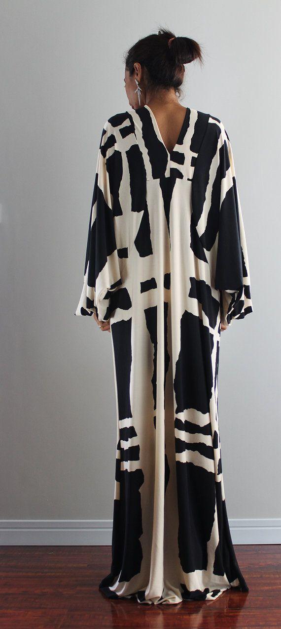 Noir et crème Maxi robe  robe de soirée Funky : Funky