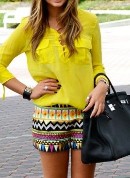 printed shorts with bright blouse: Patterns Shorts, Colors Combos, Summer Looks, Tribal Shorts, Summer Outfits, Aztec Shorts, Summer Colors, Tribal Prints, Bright Colors