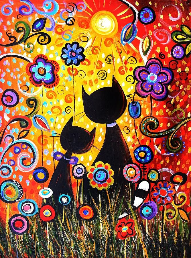 cat painting abstract - Buscar con Google