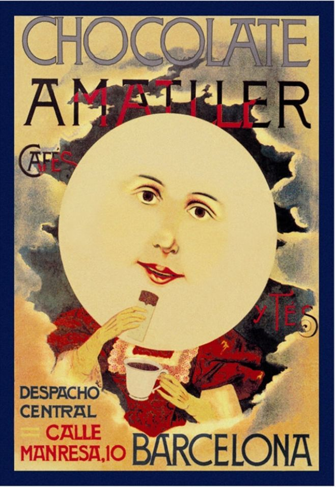Chocolate Amatller: Barcelona vintage chocolate advert  full moon face