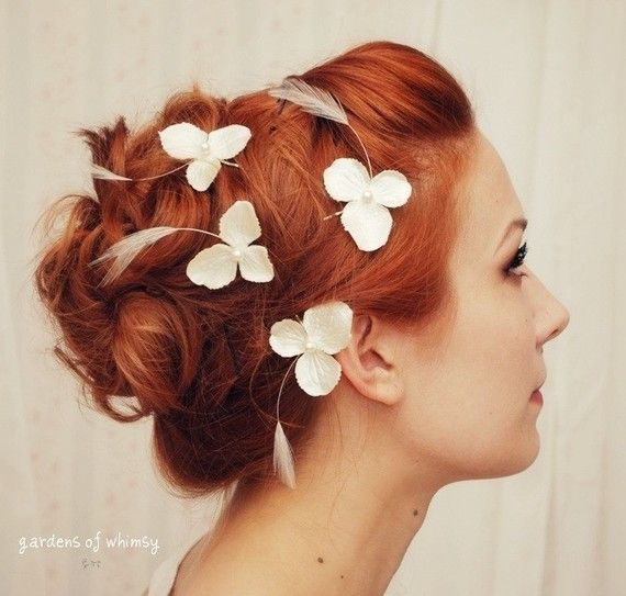 Wedding bobby pin set, hydrangea hair pins, feather and pearl clips, bridal flowers - Whisper - hair accessories