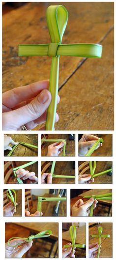 How to Make a Cross out of Palm Branch...this would be really cool to give away at church on Palm Sunday!!!