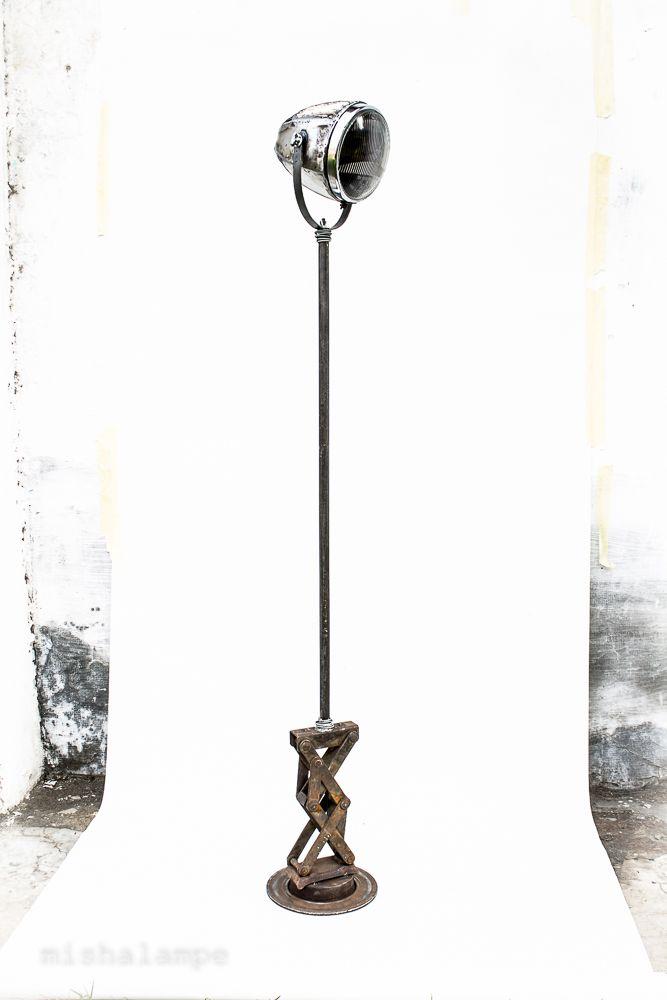 ZigZag Car LIFTer Lamp  car zigzag lifter  iron pipe old car headlight glass metal sheet car break disk high 145-165cm #mishalampe #reuse #recycling #upcycling #handmade #craft #furniture #burningman #carparts #collection