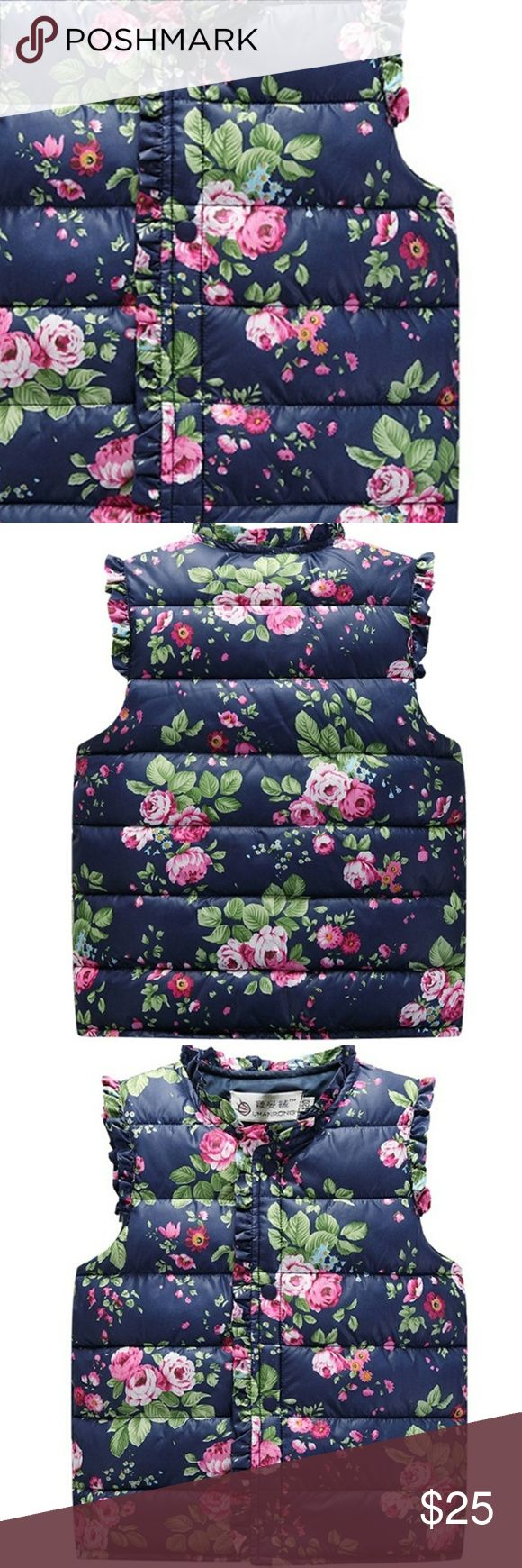 ️JUST IN️ GIRLS Puffer Floral Vest Cotton/poly floral vest.  Medium weight.  Available in 4T, 6, and 8. Jackets & Coats Vests