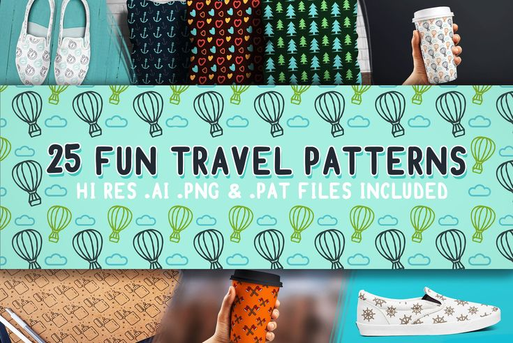 Ad: Fun Travel Patterns - Spice up your gear with these fun travel patterns. They're perfect for coffee cups, pilow cases, shoes, phone cases and waay more stuff! :) Just let your imagination run wild. #pattern #creativemarket #fun #travel #cup #starbucks
