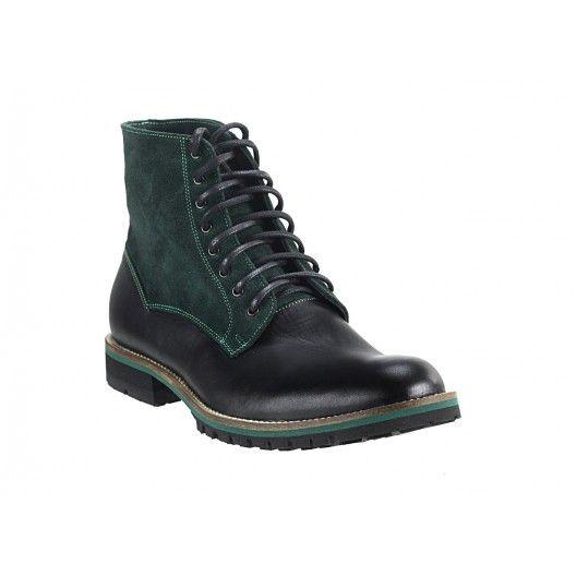 Pánske kožené čižmy zeleno-čierne - fashionday.eu