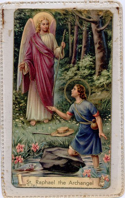 """One of the seven Archangels who stand before God's Throne, Raphael is known as """"the Healer"""" of all forms of maladies in humans and animals. He is also the patron of travelers, happy meetings (future spouses) and helps guide spiritual journeys for truth and awareness. Ora pro nobis!"""