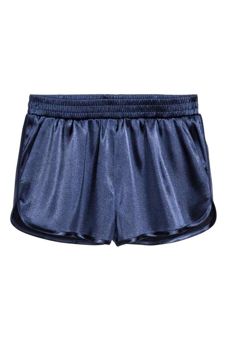 Satin shorts - Dark blue - Ladies | H&M GB
