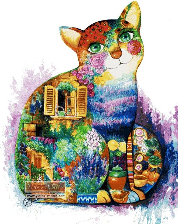Abstract Cat Cross Stitch Kit Miscellaneous Crossstitch