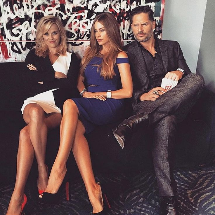 """Reese Witherspoon, Sofia Vergara and Joe Magliano It looks like Sofia Vergara and fiance Joe Magliano got the memo, but Reese Witherspoon not so much! """"And this was our """"We Mean Business"""" look for the #MTVmovieawards. Watch out for #HotPursuit and #MagicMikeXXL! @sofiavergara @joemanganiello"""" the blond beauty captioned her snap on April 12, 2015."""