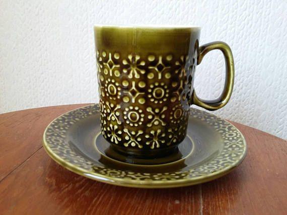 Celtic Connemara Cup and Saucer // Kilrush // Dark Olive Green