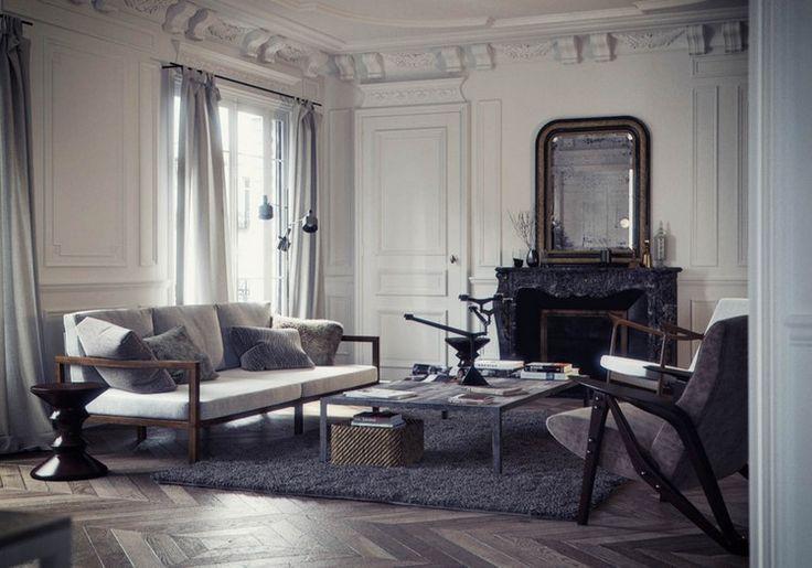 Home Inspiration Ideas - Paris luxury apartments by Bertrand Benoit - gray palette living room scheme #homedecor #livingroomideas #modernsofas  / More at http://homeinspirationideas.net/room-inspiration-ideas/home-inspiration-ideas-12-show-stopping-luxury-paris-apartments