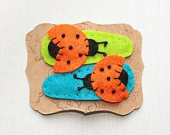 Felt hair clip ladybug hair clip yellow ladybug by mirgumargu