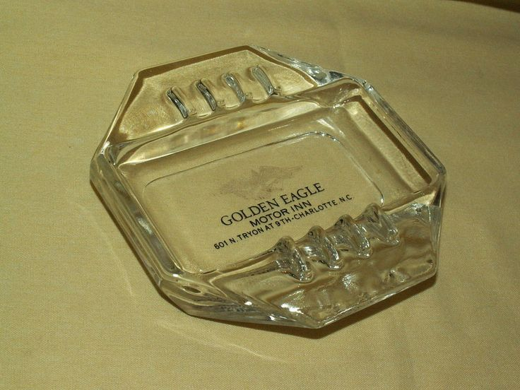 GOLDEN EAGLE MOTOR INN ASHTRAY TRYON AT 9TH CHARLOTTE NC GLASS CIGARETTE VINTAGE #Unbranded