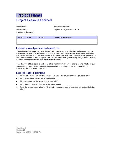 Project lessons learned Templates Office Free MS Word – Lessons Learned Template