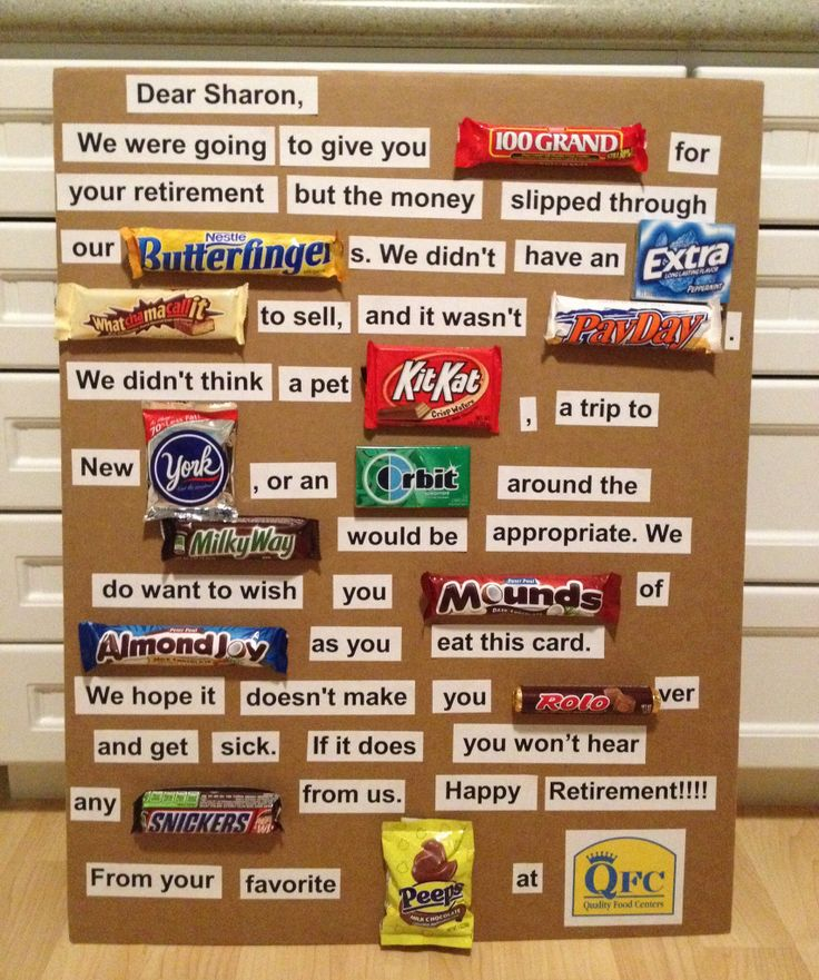 retirement card made with candy
