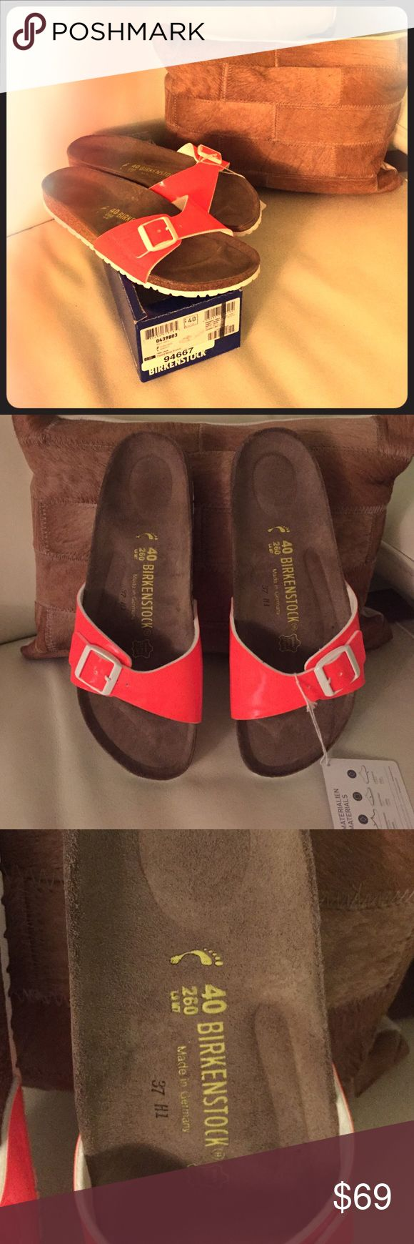 Reduced⬇️Birkenstock Madrid Neon Orange Narrow Fit Super comfy and stylish at the same time, new Birkenstock Slippers, never worn, only tried on. Leather insole, natural cork footbed, upper is dark Birko-Flor, which adds great contrast to orange.Make them yours! Birkenstock Shoes Slippers