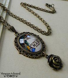 Unique bronze pendant necklace inspired by Alice in Wonderland.
