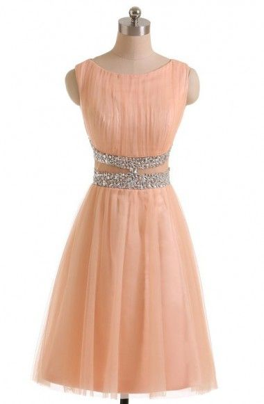 Simple A-line Homecoming Dresses,Jewel Peach Homecoming Dresses,Tulle Homecoming Dresses with Beads