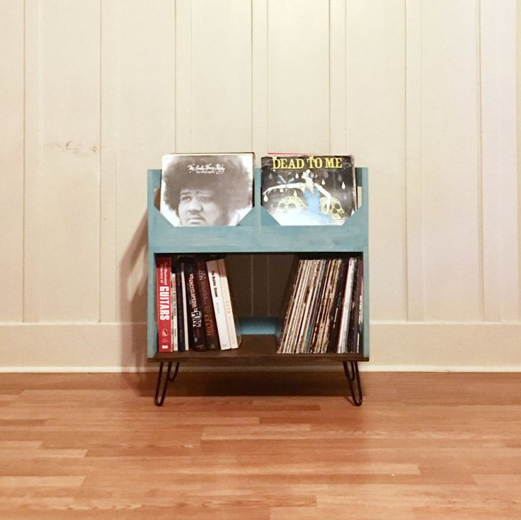 """Deluxe Vinyl Record Storage on 6"""" Hairpin Legs // Displays and Protects Your Collection of Over 200 12"""" vinyl records"""