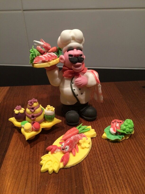 Sugarpaste  chef, food and  bakery  cake  topper