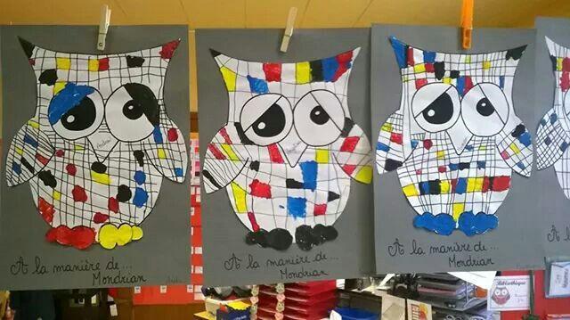 Hibou à la manière de Mondrian