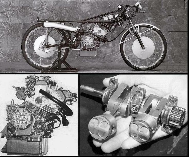 The amazing 'Honda RC1115' 50cc machine. The tiny crankshaft and pistons are a sight to behold!