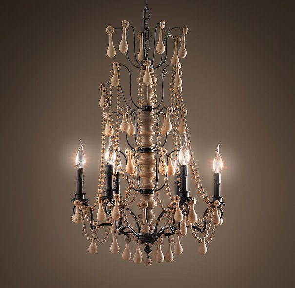 Rococo Rectangular Chandelier: Baroque Wood Crystal Chandelier Medium