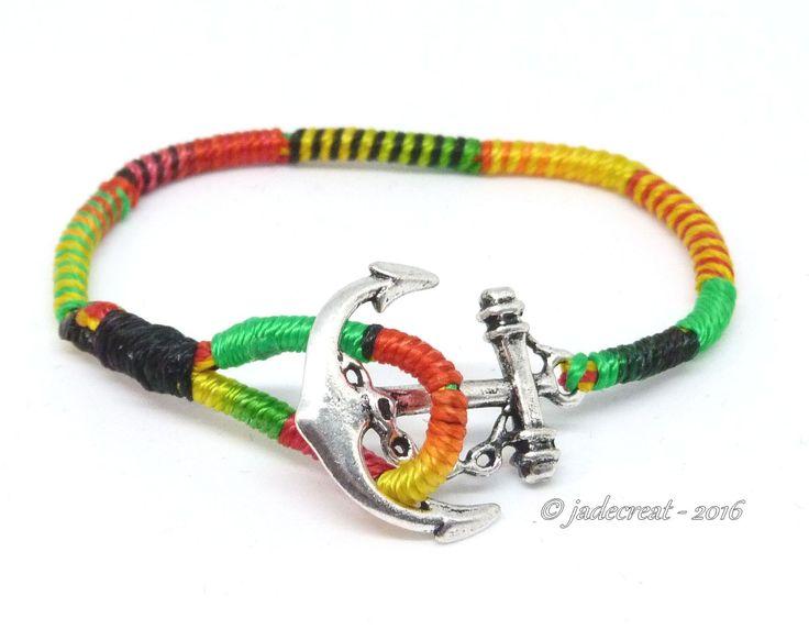 Bracelet ancre marine- couleur rasta - Réf. Br 0268 : Bracelet par jadecreat