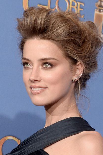 Amber Heard's #Makeup & Big Beautiful Hair at the Golden Globes 2014