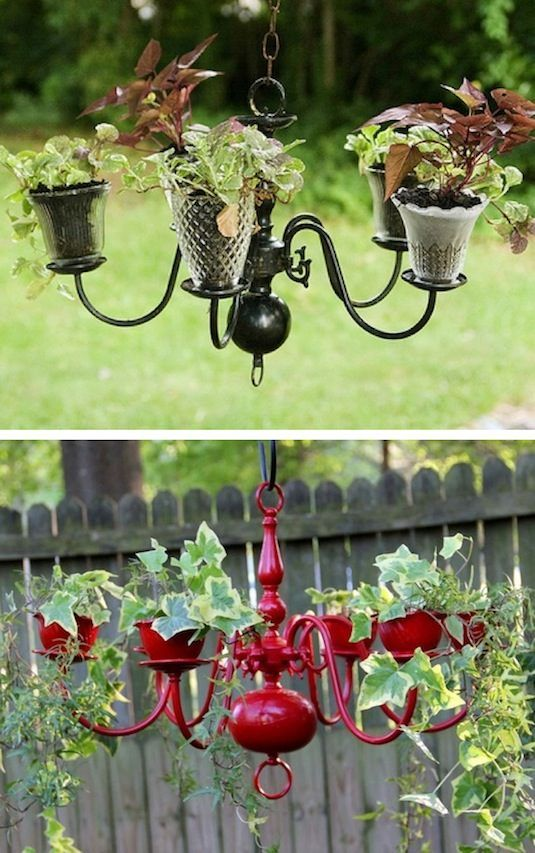 Am Loving this idea for displaying plants.  Would look great hanging on a porch.  Chic and rustic at the same time!