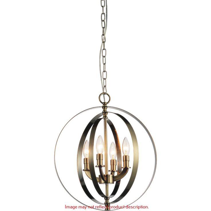 Delroy 4-Light Satin Nickel Chandelier-9811P16-4-606 - The Home Depot