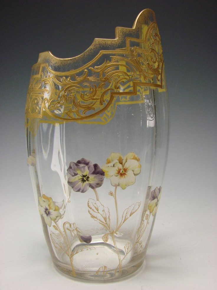 Antique French Mont Joye Glass Cut and Enameled Pansies Vase, c. 1900