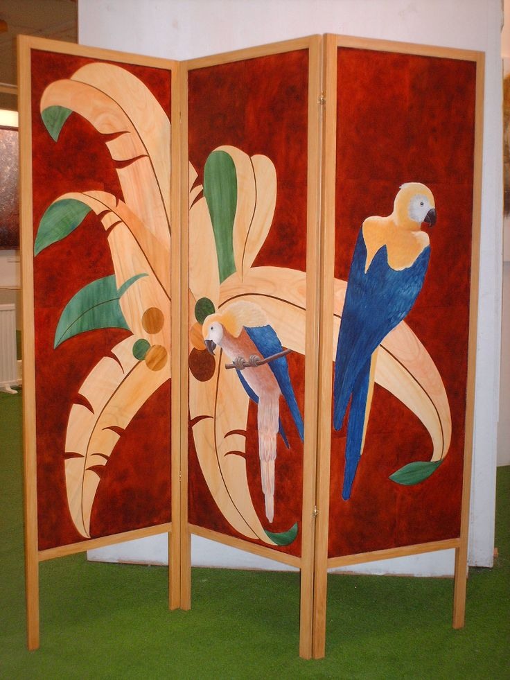 Screen, room divider,  painted intarsia with faux graining.