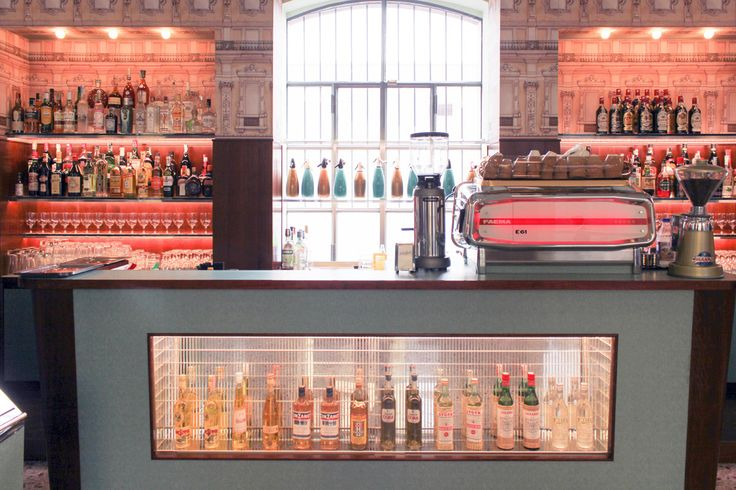 A Wes Anderson-designed bar at the new Fondazione Prada, Milan