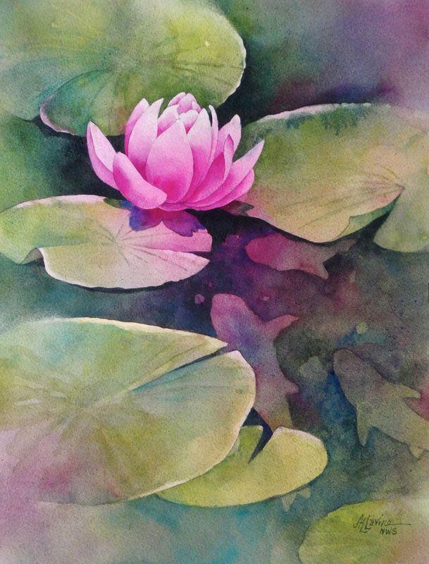 Alexis Lavine Nws Luminous Watercolors Inspiring Art Instruction Watercolor Flowers Paintings Water Lilies Painting Watercolor Negative Painting