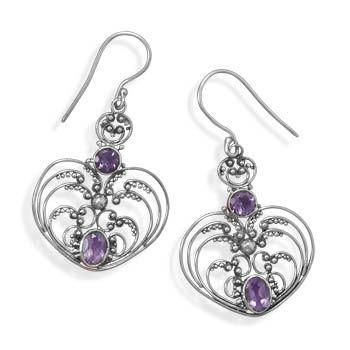 Oxidized Ornate Amethyst Earrings