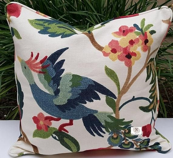 Designer Lucy Eden Beautiful Large Bird Decorative Indoor Pillow Cover with Solid Backing Fabric