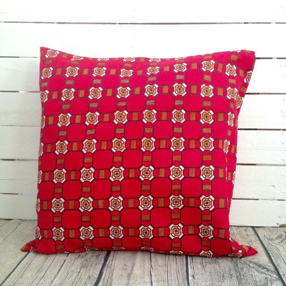 Red check Cushion, throw pillow cover, Scatter cushion, African wax print  (17 inch) Red decorative pillow