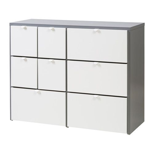 IKEA VISTHUS Chest of 8 drawers Grey/white 122x96 cm Of course your home should be a safe place for the entire family. That's why a safety fitting is...