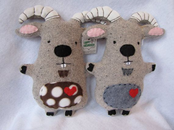 Recycled Sweater Goat stuffed animal critter plush