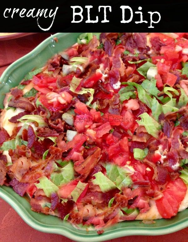 """Like this recipe? """"Pin it"""" to save it by clicking the photo above!! Be sure to follow CentsLessDeals on Pinterest and check out our other great recipes while you're here! This Creamy BLT Dip recipe is sooo yummy!! I had a dinner party and needed a quick appetizer and I came up with this, and …"""
