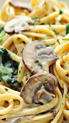Creamy Mushroom Florentine Pasta Recipe ~ A classic and easy creamy pasta dish made with mushroom, garlic, cheese and spinach.