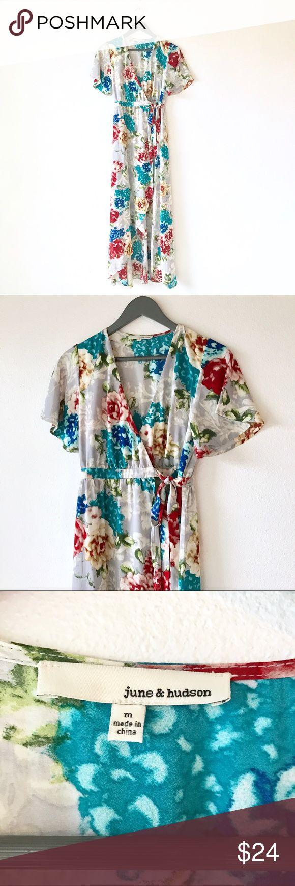 June & Hudson Floral Hi Low Wrap Maxi Dress NWOT 🏴 Size Medium 🏴 Hi Low Maxi Wrap Dress June & Hudson Dresses