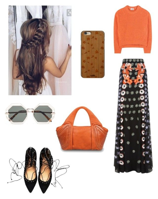 """""""Orange!"""" by ameliawagnon ❤ liked on Polyvore featuring Temperley London, Acne Studios, GRETCHEN, Casetify and Karen Walker"""