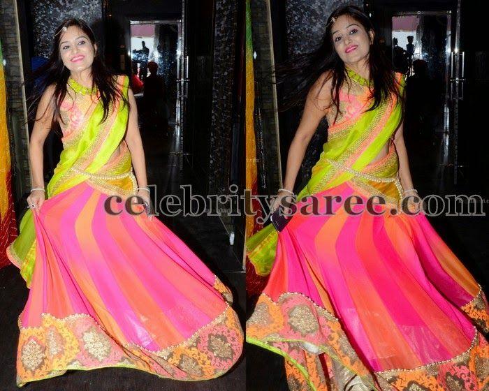Multi Colors Georgette Half Saree