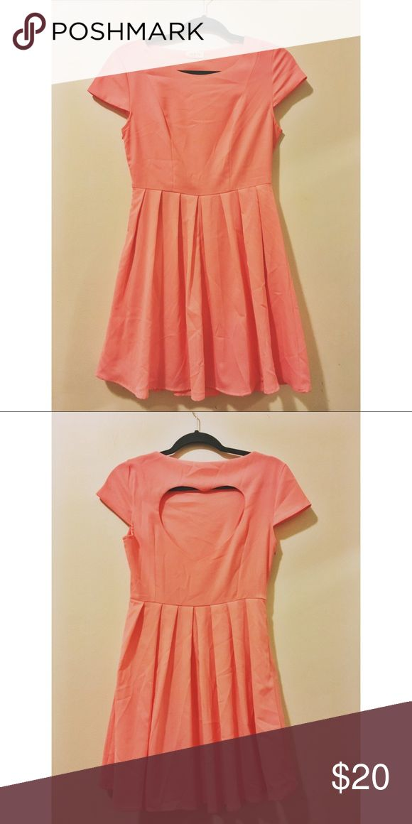 Heart-shaped cut back dress! Coral Summer Dress | Heart-shape cutout back | 100% Polyester | Size Medium | Tag: tea & cup | Wore once | Will steam when sent Tea n Cup Dresses Mini