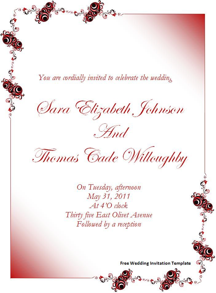 Wedding Invitation Templates Free Wedding Invitation Template - free wedding templates for word